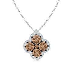 Coffee and White Diamond Clover Pendant with Halo