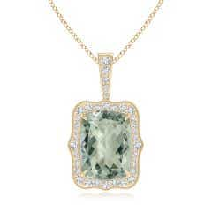 GIA Certified Rectangular Cushion Green Amethyst Pendant