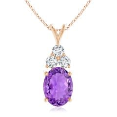 GIA Certified Amethyst Solitaire Pendant with Trio Diamonds