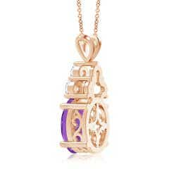 Toggle GIA Certified Amethyst Solitaire Pendant with Trio Diamonds