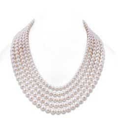 Graduated Freshwater Cultured Pearl Five Strand Necklace