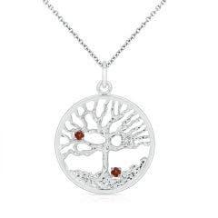 Garnet & Diamond Family Tree Pendant for Mom