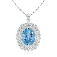 GIA Certified Oval Aquamarine Pendant with Double Halo - 3.7 CT TW