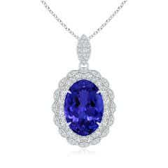 GIA Certified Oval Tanzanite Halo Pendant with Heart Motifs - 8.6 CT TW