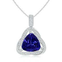 GIA Certified Trillion Tanzanite Celtic Knot Pendant - 8.2 CT TW