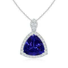 GIA Certified Trillion Tanzanite Pendant with Diamond Halo - 8.3 CT TW