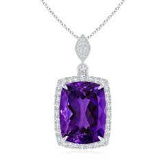 GIA Certified Rectangular Cushion Amethyst Pendant with Halo - 10.8 CT TW