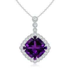 GIA Certified Cushion Amethyst Halo Pendant with Milgrain - 17 CT TW