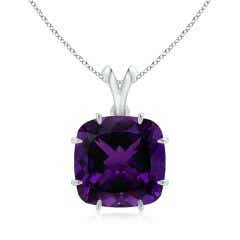Claw-Set GIA Certified Cushion Amethyst V-Bale Pendant - 15 CT TW