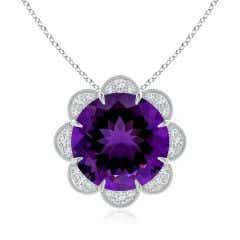 GIA Certified Round Amethyst Floral Pendant with Milgrain - 8.3 CT TW