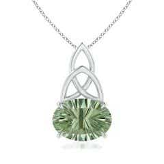 GIA Certified Green Amethyst Celtic Trinity Knot Pendant - 5.6 CT TW