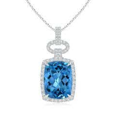 Art Deco Inspired GIA Certified Swiss Blue Topaz Pendant - 12.8 CT TW