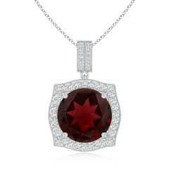 Vintage Inspired GIA Certified Round Garnet Halo Pendant