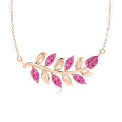 Nature Inspired Pink Sapphire Tree Branch Necklace