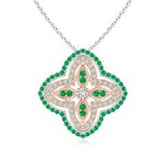 Diamond & Emerald Double Halo Two Tone Floral Pendant