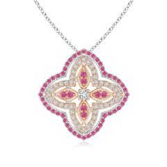 Diamond & Pink Sapphire Double Halo Two Tone Floral Pendant