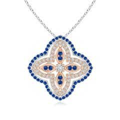 Diamond & Sapphire Double Halo Two Tone Floral Pendant