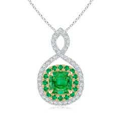 Emerald & Diamond Double Halo Two Tone Infinity Pendant