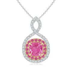 Pink Sapphire & Diamond Double Halo Two Tone Infinity Pendant