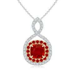 Ruby & Diamond Double Halo Two Tone Infinity Pendant