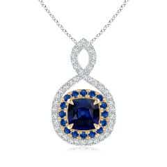 Sapphire & Diamond Double Halo Two Tone Infinity Pendant