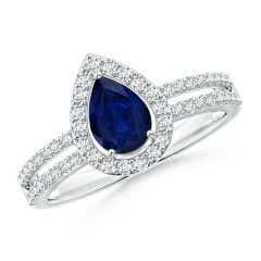 Pear Blue Sapphire and Diamond Halo Split Shank Ring