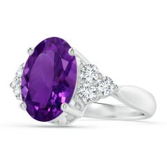 GIA Certified Oval Amethyst Ring with Trio Diamonds - 4.36 CT TW