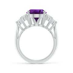 Toggle GIA Certified Oval Amethyst Ring with Trio Diamonds - 4.36 CT TW