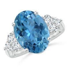 GIA Certified Oval Aquamarine Ring with Trio Diamonds