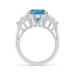 Toggle GIA Certified Oval Aquamarine Ring with Trio Diamonds