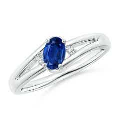 Blue Sapphire and Diamond Split Shank Ring