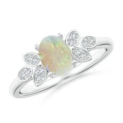 Vintage Style Oval Opal Ring with Diamond Accents