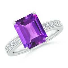 Octagonal Amethyst Cocktail Ring with Diamonds