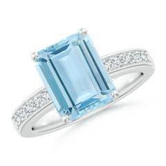 Octagonal Aquamarine Cocktail Ring with Diamonds