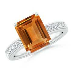 Octagonal Citrine Cocktail Ring with Diamonds