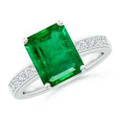 Octagonal Emerald Cocktail Ring with Diamonds