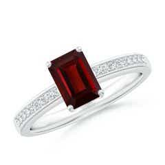Octagonal Garnet Cocktail Ring with Diamonds