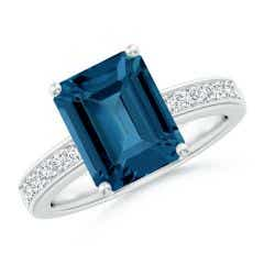 Octagonal London Blue Topaz Cocktail Ring with Diamonds