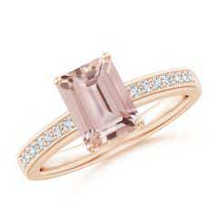 Octagonal Morganite Cocktail Ring with Diamonds