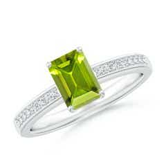 Octagonal Peridot Cocktail Ring with Diamonds