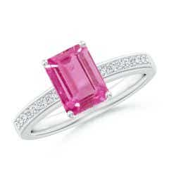 Octagonal Pink Sapphire Cocktail Ring with Diamonds