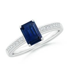 Octagonal Sapphire Cocktail Ring with Diamonds