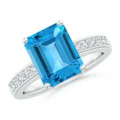 Octagonal Swiss Blue Topaz Cocktail Ring with Diamonds