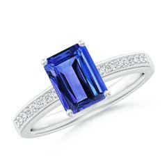 Octagonal Tanzanite Cocktail Ring with Diamonds