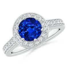 Blue Sapphire Halo Ring with Diamond Accents