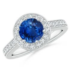 b9989ef0e Blue Sapphire Halo Ring with Diamond Accents