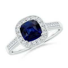 Classic Cushion Blue Sapphire Ring with Diamond Halo