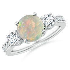 Classic Three Stone Opal and Diamond Ring