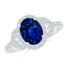 Vintage Style Oval Blue Sapphire Halo Ring