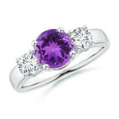 Classic Amethyst and Diamond Three Stone Engagement Ring